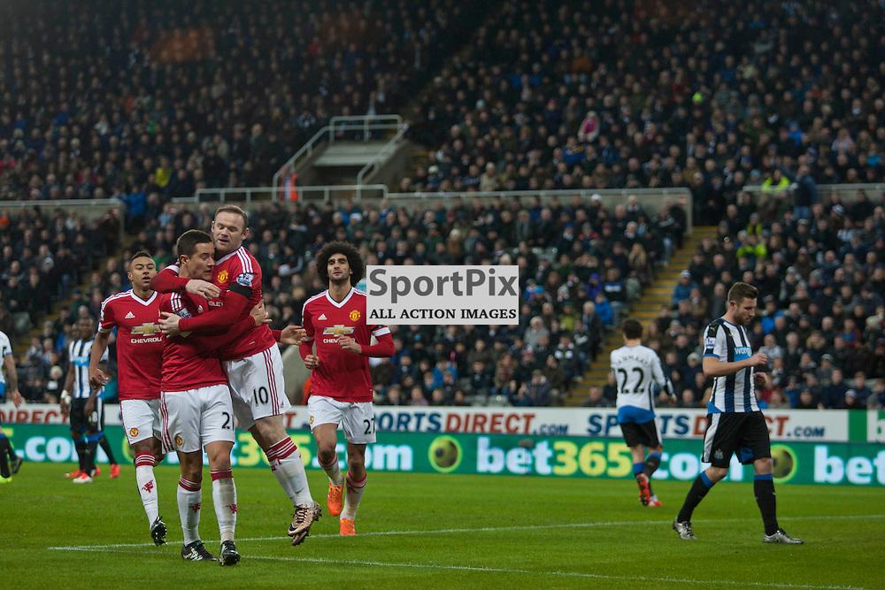 Newcastle v Manchester Utd 12 January 2016<br /> Wayne Roooney celebrates sccoring<br /> (c) Russell G Sneddon / SportPix.org.uk