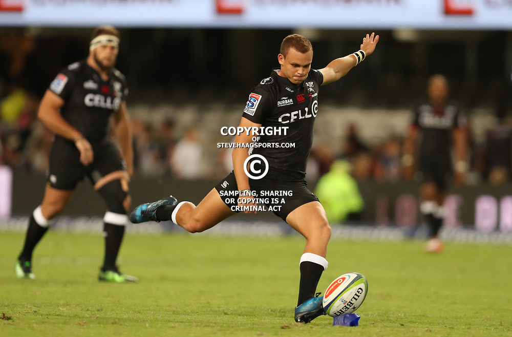 Curwin Bosch of the Cell C Sharks during the Super Rugby match between the Cell C Sharks and the Southern Kings at Growthpoint Kings Park in Durban, South Africa. 18th March 2017(Photo by Steve Haag Sports)