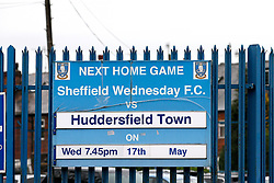 A general view of the fixture board outside Hillsborough Stadium - Mandatory by-line: Matt McNulty/JMP - 17/05/2017 - FOOTBALL - Hillsborough - Sheffield, England - Sheffield Wednesday v Huddersfield Town - Sky Bet Championship Play-off Semi-Final 2nd Leg