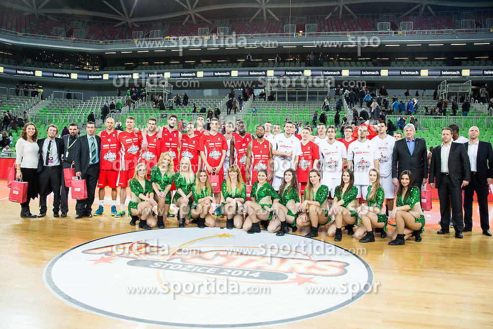 Group photo during basketball match between Best Players of League Telemach at All-Stars Stozice 2014, on December 28, 2014 in Arena Stozice, Ljubljana, Slovenia. Photo by Vid Ponikvar / Sportida