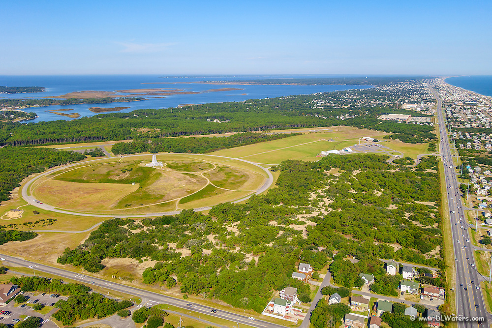 Aerial photo of the Wright Brothers Memorial Kill Devil Hills on the Outer Banks NC.