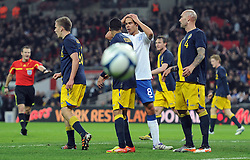 15.11.2011, Wembley Stadium, London, ENG, FSP, England (ENG) vs Schweden (SWE), im Bild England's Jack Rodwell reacts // after heading against the post against Sweden // during the international friendlies football match between England (ENG) and Sweden (SWE) at Wembley Stadium, London, United Kingdom on 15/11/2011. EXPA Pictures © 2011, PhotoCredit: EXPA/ Sportida/ Chris Brunskill..***** ATTENTION - OUT OF ENG, GBR, UK *****