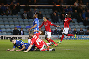 Coventry City midfielder Joe Cole (14)  slides in to score a goal and celebrates to make the score 2-1 during the Sky Bet League 1 match between Peterborough United and Coventry City at London Road, Peterborough, England on 25 March 2016. Photo by Simon Davies.