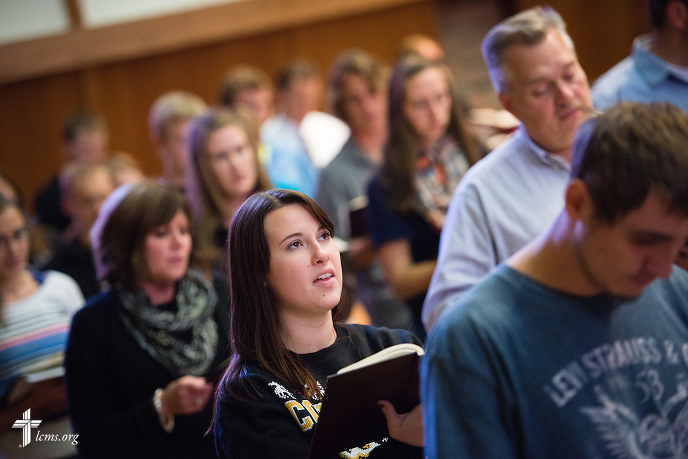 Jennifer Lebeck sings during chapel service in the Chapel of Our Lord on the campus of Concordia University Chicago in River Forest, Ill., on Friday, Oct. 10, 2014. LCMS Communications/Erik M. Lunsford