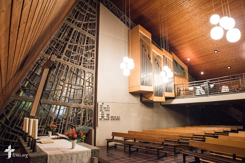 The interior at Paul-Gerhardt Gemeinde, a SELK Lutheran church in Braunschweig, Germany, on Thursday, Nov. 12, 2015. LCMS Communications/Erik M. Lunsford