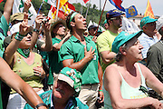 Supporters of Lega Nord (Northern League party) sing Va' Pensiero with the right hand on the heart at the end of a meeting in Pontida, Sunday, June 14, 2009. Va' pensiero, by Giuseppe Verdi, was adopted by Lega Nord as anthem...