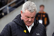 Aston Villa Manager Steve Bruce  during the EFL Sky Bet Championship match between Hull City and Aston Villa at the KCOM Stadium, Kingston upon Hull, England on 31 March 2018. Picture by Mick Atkins.