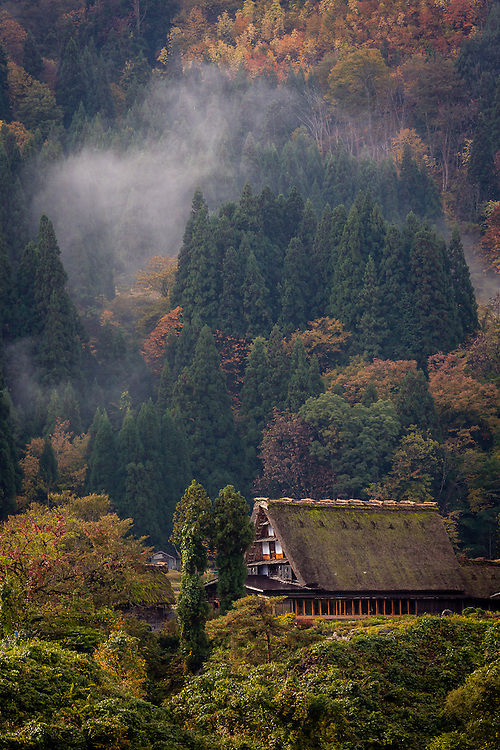 One of the traditional thatched roof houses of Ogimachi village stands against a backdrop of autumn colored trees