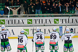 Team HDD Tilia Olimpija greets fans during ice-hockey match between HDD Tilia Olimpija and EHC Liwest Black Wings Linz in 19th Round of EBEL league, on November 7, 2010 at Hala Tivoli, Ljubljana, Slovenia. (Photo By Matic Klansek Velej / Sportida.com)