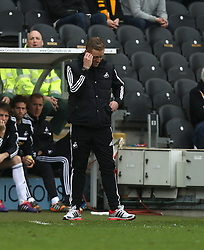 Swansea manager Garry Monk shows his dejection - Photo mandatory by-line: Matt Bunn/JMP - Tel: Mobile: 07966 386802 05/04/2014 - SPORT - FOOTBALL - KC Stadium - Hull - Hull City v Swansea City- Barclays Premiership