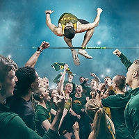 This image was inspired from the memories i've had as a Track & Field athlete competing in the Canada West conference while representing the University of Regina. Nothing compares to the excitment of the biggest university track meet on the calendar. Although an individual sport by nature, the Canwest championship seemily instils the essence of true team spirit into every athlete at the championship. Shouting and cheering at maximum lung capacity for two consecutive days usually results in lost voices but every rookie to senior athlete leave with no regrets, looking to return in a year's time to do it all over again, from the track or the stands!