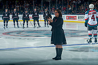 KELOWNA, CANADA - NOVEMBER 11: Cindy Rogers stands on the ice at the Kelowna Rockets against the Red Deer Rebels on November 11, 2017 at Prospera Place in Kelowna, British Columbia, Canada.  (Photo by Marissa Baecker/Shoot the Breeze)  *** Local Caption ***