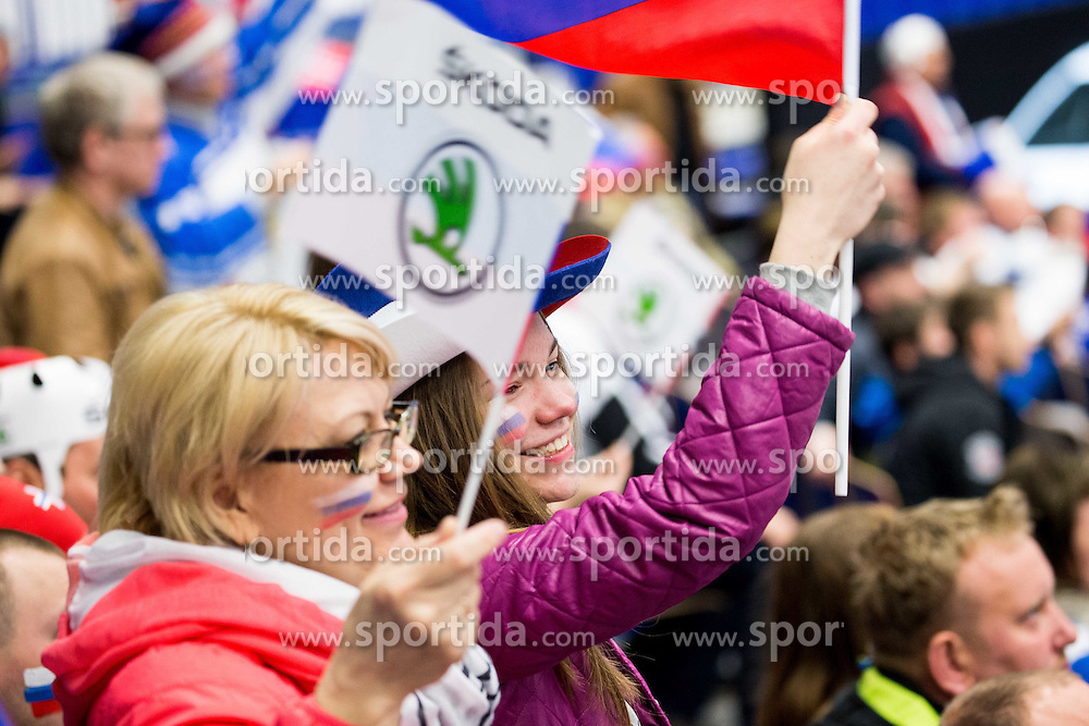 Fans of Russia celebrate during Ice Hockey match between Russia and Norway at Day 1 in Group B of 2015 IIHF World Championship, on May 1, 2015 in CEZ Arena, Ostrava, Czech Republic. Photo by Vid Ponikvar / Sportida