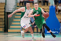 Marko Josilo of KK Krka and Gregor Hrovat of KK Petrol Olimpija Ljubljana during basketball match between KK Krka Novo mesto and  KK Petrol Olimpija in 2nd Final game of Liga Nova KBM za prvaka 2017/18, on May 22, 2018 in Sports hall Leona Stuklja, Novo mesto, Slovenia. Photo by Urban Urbanc / Sportida