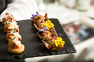 Photography of the food intended for the menu for dinner at the Grosvenor House Hotel affter the EE British Academy Film Awards on Sunday 14th February 2016.
