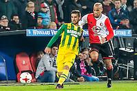 ROTTERDAM - Feyenoord - ADO Den Haag , Voetbal , KNVB Beker , Seizoen 2016/2017 , De Kuip , 14-12-2016 , ADO Den Haag speler Hector Hevel (l) in duel met Feyenoord speler Karim El Ahmadi (r)