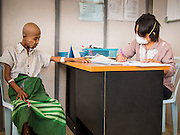 03 MARCH 2104 - MAE KASA, TAK, THAILAND: Dr. SEIN SEIN THI works with a patient at the Sanatorium Center for Border Communities in Mae Kasa, about 30 minutes north of Mae Sot, Thailand. The Sanatorium provides treatment and housing for people with tuberculosis in an isolated setting for about 68 patients, all Burmese. The clinic is operated by the Shoklo Malaria Research Unit and works with several other NGOs that assist Burmese people in Thailand. Reforms in Myanmar have alllowed NGOs to operate in Myanmar, as a result many NGOs are shifting resources to operations in Myanmar, leaving Burmese migrants and refugees in Thailand vulnerable. Funding cuts could jeopardize programs at the clinic. TB is a serious health challenge in Burma, which has one of the highest rates of TB in the world. The TB rate in Thailand is ¼ to ⅕ the rate in Burma.        PHOTO BY JACK KURTZ