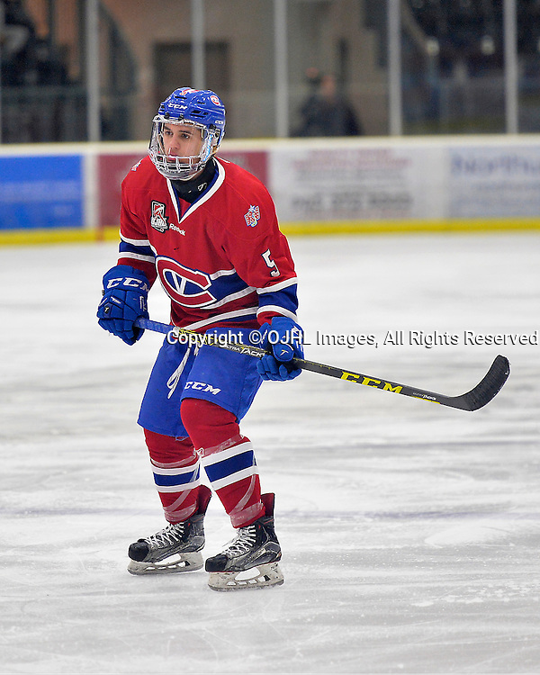 COBOURG, ON  - MAR 4,  2017: Ontario Junior Hockey League, playoff game between the Cobourg Cougars and the Kingston Voyageurs. Anthony Firriolo #5 of the Kingston Voyageurs during the third period. <br /> (Photo by Shawn Muir / OJHL Images)