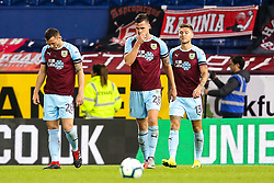 Kevin Long of Burnley cuts a frustrated figure along with teammates - Mandatory by-line: Robbie Stephenson/JMP - 30/08/2018 - FOOTBALL - Turf Moor - Burnley, England - Burnley v Olympiakos - UEFA Europa League Play-offs second leg