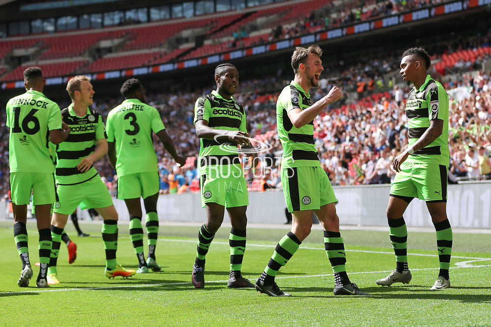 Forest Green Rovers Christian Doidge(9) celebrates his goal with the fans during the Vanarama National League Play Off Final match between Tranmere Rovers and Forest Green Rovers at Wembley Stadium, London, England on 14 May 2017. Photo by Shane Healey.
