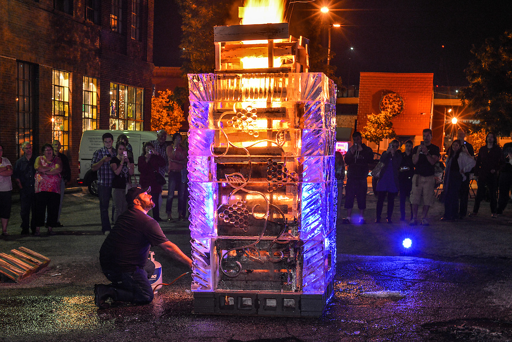 Lighting of the Fire and Ice Tower at the NorthSide district during Akron Art Prize 2014.