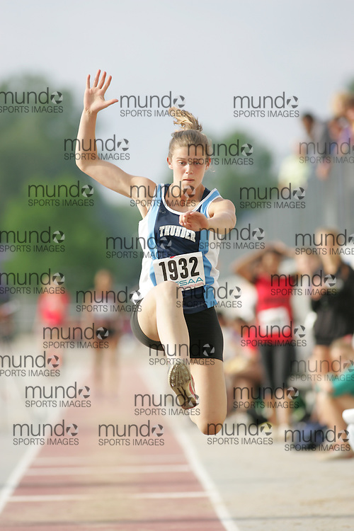 (London, Ontario}---03 June 2010) Jackie Bray of St. Theresa - Midland competing in the senior girls long jump at the 2010 OFSAA Ontario High School Track and Field Championships. Photograph copyright Sean Burges / Mundo Sport Images, 2010.