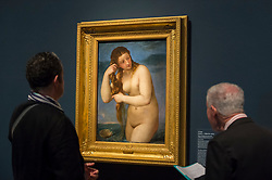 "© Licensed to London News Pictures. 28/02/2019. LONDON, UK. Visitors view ""Venus Rising from the Sea (Venus Andyomene)"" c1520 by Titian. Preview of ""The Renaissance Nude"", an exhibition at the Royal Academy of Arts in Piccadilly of 90 works examining the emergence of the nude in European art.  Works by artists including Leonardo da Vinci to Michelangelo are on display in the Sackler Galleries 3 March to 2 June 2019.  Photo credit: Stephen Chung/LNP"