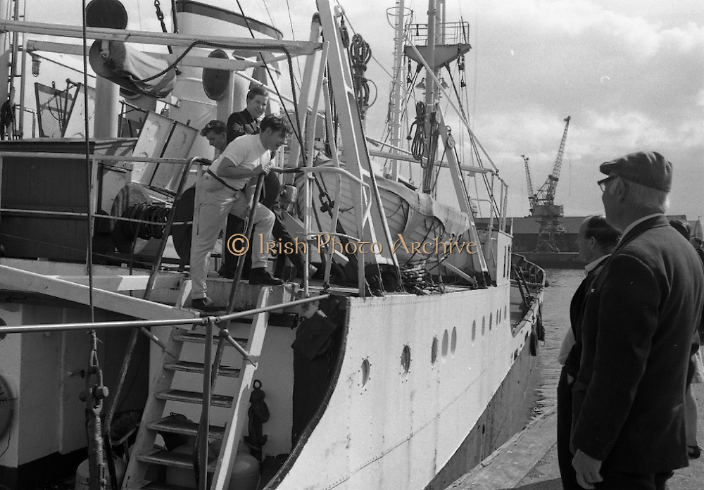 With her cargo of 600 tonnes of foodstuff, drugs and blankets for famine ridden Biafra, the Irish mercy ship Columcille sails out of Dublin, with Captain P. O'Saeghdha in command and a crew of 12, among which is a seaman priest, Rev. Fr. Joseph Fitzgibbon, the Limerick born Holy Ghost Father, who has volunteered as third engineer on the vessel.<br />