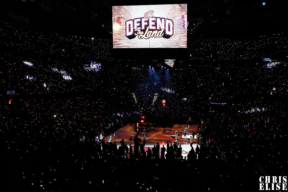 07 June 2017: General view of the Q Arena prior to the Golden State Warriors 118-113 victory over the Cleveland Cavaliers, in game 3 of the 2017 NBA Finals, at  the Quicken Loans Arena, Cleveland, Ohio, USA.