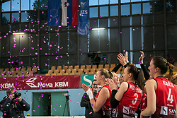 Players of Nova KBM celebrate after winning the final volleyball match between Nova KBM Branik and Calcit Volleyball Ljublana in Final of 1. DOL Slovenian Women National Championship 2016/17, on April 21, 2017 in Tabor, Maribor, Slovenia. Photo by Matic Klansek Velej / Sportida