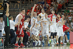 02.09.2014, City Arena, Bilbao, ESP, FIBA WM, Ukraine vs Türkei, im Bild Ukraine's players celebrate // during FIBA Basketball World Cup Spain 2014 match between Ukraine and Turkey at the City Arena in Bilbao, Spain on 2014/09/02. EXPA Pictures © 2014, PhotoCredit: EXPA/ Alterphotos/ Acero<br /> <br /> *****ATTENTION - OUT of ESP, SUI*****
