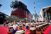 Children playing Japanese drums at the beginning of the launching and naming ceremony of  the ship ATTALIA that was ordered by the Greek shipping company N.J.Goulandris Maritime Inc.