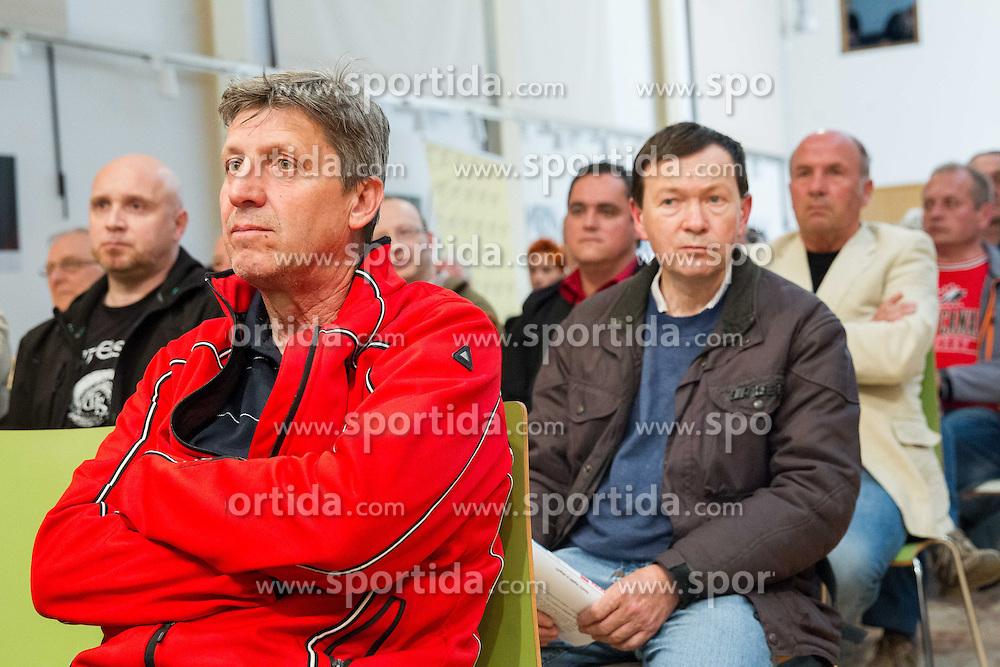 Spectators during Sportforum discussion about problems of ice-hockey at Jesenice, on April 23, 2013, in Gornjesavski muzej - Kolpern, Jesenice, Slovenia. (Photo By Vid Ponikvar / Sportida.com)