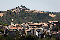"""AFFILE (RM), ITALY - 23 AUGUST 2012: View of Affile, a town with a population of 1,600 80km east of Rome, where a mausoleum and a park dedicated to the memory of Fascist Field Marshall Rodolfo Graziani has recently been opened. At a cost of €127,000 to local taxpayers, the mayor Ercole Viri has expressed hope that the site will become as 'famous and as popular as Predappio' – the burial place of Mussolini which has become a shrine to neo-Fascists. Rodolfo Graziani was the youngest colonel in the Regio Esercito (Royal Italian Army), known as the """"Butcher of Fezzan"""" and the """"Butcher of Ethiopia"""" for the brutal military campaigns and gas attacks he led in Libya and Ethiopia under the dictatorship of Benito Mussolini under which he then became Minister of Defence from 1943 to 1945."""