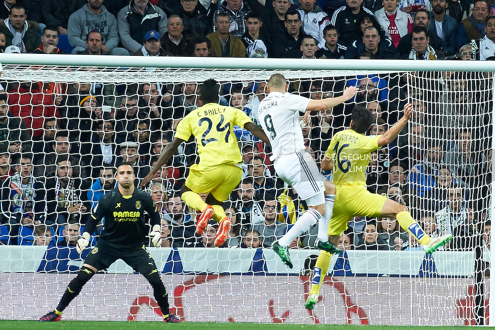 Karim Benzema during Real Madrid v Villarreal CF, La Liga football match at Santiago Bernabeu on March 1, 2015 in Madrid