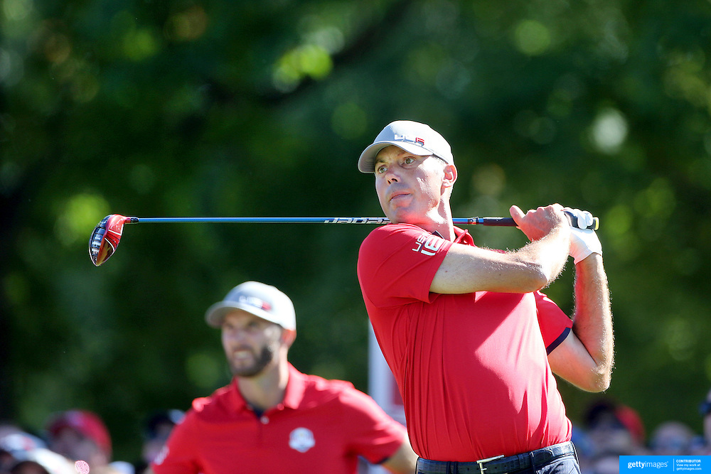 Ryder Cup 2016. Day One. Matt Kuchar of the United States tees off on the sixth in the Friday afternoon four-ball competition during the Ryder Cup at  Hazeltine National Golf Club on September 30, 2016 in Chaska, Minnesota.  (Photo by Tim Clayton/Corbis via Getty Images)