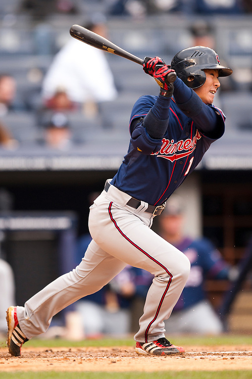 NEW YORK - APRIL 07: Tsuyoshi Nishioka #1 of the Minnesota Twins bats during a game against the New York Yankee at Yankee Stadium on April 7, 2011 in the Bronx borough of Manhattan, the Yankees defeated the Twins 4 to 3. (Photo by Rob Tringali) *** Local Caption *** Tsuyoshi Nishioka