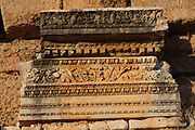 Carved frieze in the Nymphaeum, Roman, 2nd - 3rd century AD, monument consecrated to water nymphs, at Aspendos, an ancient Greco-Roman city in Antalya Province, Turkey. The nymphaeum has 2 storeys with 5 niches in each, and previously was fronted by an Ionic colonnade. Although settled before 1000 BC, Aspendos grew under the Greeks and subsequently the Persians and Romans, before declining in importance from the 4th century. Picture by Manuel Cohen