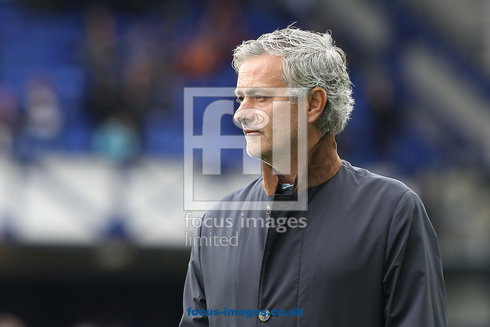 Jose Mourinho manager of Chelsea on the pitch prior to the Barclays Premier League match against Everton at Goodison Park, Liverpool.Picture by Michael Sedgwick/Focus Images Ltd +44 7900 363072<br /> 12/09/2015