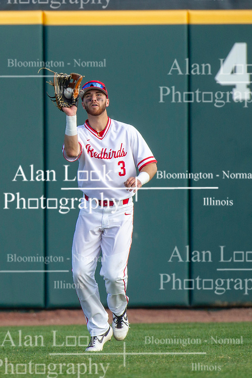 NORMAL, IL - April 08: John Rave fields a fly ball during a college baseball game between the ISU Redbirds  and the Sacramento State Hornets on April 08 2019 at Duffy Bass Field in Normal, IL. (Photo by Alan Look)