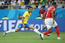 ROSTOV-ON-DON, June 17, 2018  Gabriel Jesus (L) of Brazil vies with Manuel Akanji of Switzerland during a group E match between Brazil and Switzerland at the 2018 FIFA World Cup in Rostov-on-Don, Russia, June 17, 2018. (Credit Image: © Li Ga/Xinhua via ZUMA Wire)