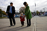 CHESHIRE, CT - 02 NOVEMBER 2010 -.U. S. Rep. Chris Murphy (D-5th), his wife Cathy and son Owen approach Cheshire High School on Tuesday morning to vote at the school. Murphy is challenged by Sen. Sam Caligiuri (R-16th)..Photo by Josalee Thrift