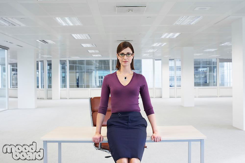 Woman in Empty Office Space