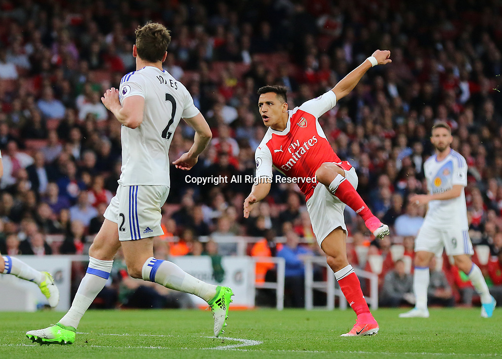 May 16th 2017, Emirates Stadium, Highbury, London, England;  EPL Premier League football, Arsenal FC versus Sunderland; Alexis Sanchez of Arsenal sees his shot go over the Sunderland bar