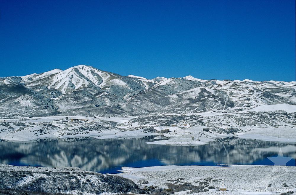 snowy winter scene over Jordanelle Resorvoir, outside Park City, Utah, UT