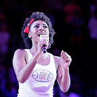 02 October 2015: Los Angeles Clippers Spirit dancer Candace sings the national anthem prior to the Los Angeles Clippers 103-96 victory over the Denver Nuggets, in a preseason game, at the Staples Center, Los Angeles, California, USA.