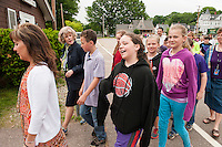 Superintendent Terri Forsten walks along with 5th grade students from Elm Street School Thursday morning as part of the Walk NH program.  Mayor Ed Engler and Tammy Levesque Health and Wellness Coordinator are walking behind.  (Karen Bobotas/for the Laconia Daily Sun)