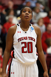 March 19, 2011; Stanford, CA, USA; Texas Tech Lady Raiders forward/center Kierra Mallard (20) before a free throw against the St. John's Red Storm during the second half of the first round of the 2011 NCAA women's basketball tournament at Maples Pavilion. St. John's defeated Texas Tech 55-50.