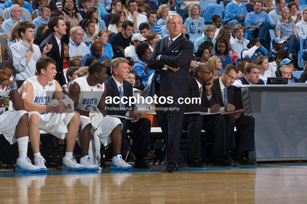 03 November 2007: North Carolina Tar Heels head basketball coach Roy Williams during a 114-62 win over the Shaw Bears at the Dean Smith Center in Chapel Hill, NC.