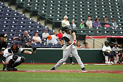 09 June 2011: Scott Houin swings  during a game between the Lake Erie Crushers and the Normal Cornbelters at the Corn Crib in Normal Illinois.